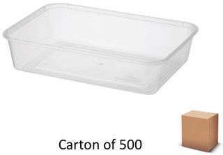 500ml RECT PLASTIC CONTAINERS (500)
