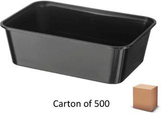 1000ml BLACK PLASTIC CONTAINERS (500)