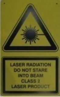 Laser safety sign poly