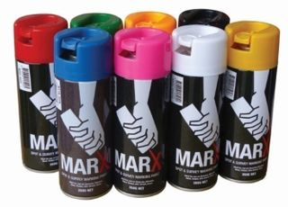 Fluro Red mark X spray and marking paint