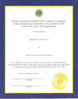 General Officer Certificate