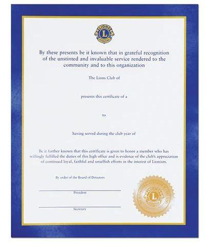 General Officer Certificate
