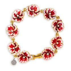 Gold Tone Pansy Bracelet-d