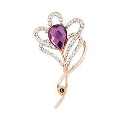 Crystal Purple Flower Pin