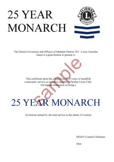 10 yr Monarch Certificate