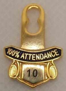 10 Year 100% Attendance Tab
