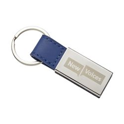 New Voices Blue Lthr Key Chain