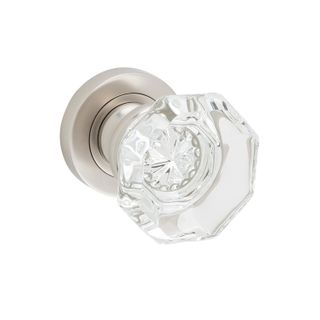 DOOR KNOB SOPHIA GLASS ROUND ROSE SN