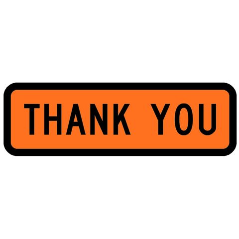 "Sign Supplement ""Thank You"" 950x300mm"