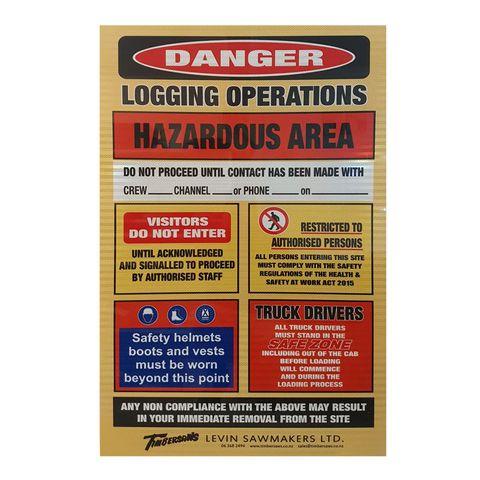 Logging Hazard Reflective Sign - 800 x 1200 x 4mm