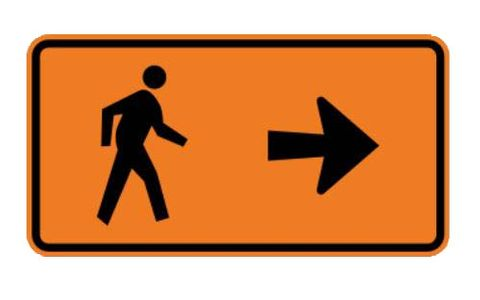 "Sign Supplement ""Pedestrian Detour with Right Arrow"" 950x500"