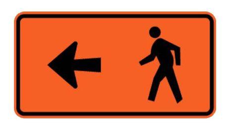 """Sign Supplement """"Pedestrian Detour with Left Arrow"""" 950x500"""