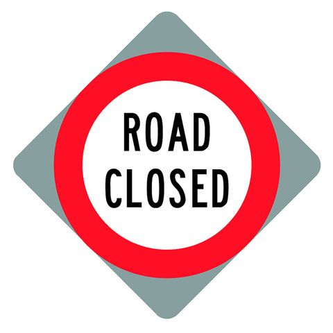 "Sign Diamond ""Road Closed"" 750x750"