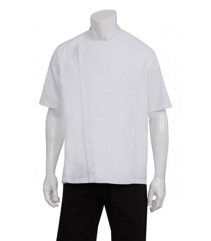 Cannes White Press Stud Chef Jacket