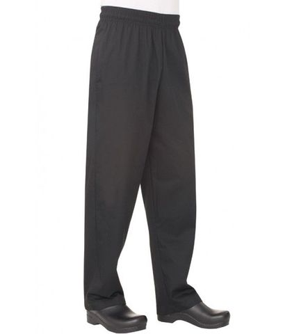 Black Poly/Cotton Baggy Chef Pants