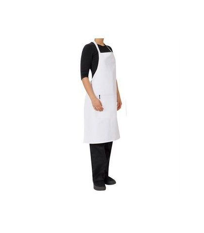 ProChef Bib Apron White Poly/Cotton 70x86cm W/Pocket