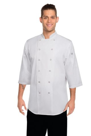 3/4 Sleeve Chef Shirt - White