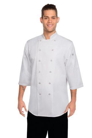 3/4 Sleeve Chef Shirt - White
