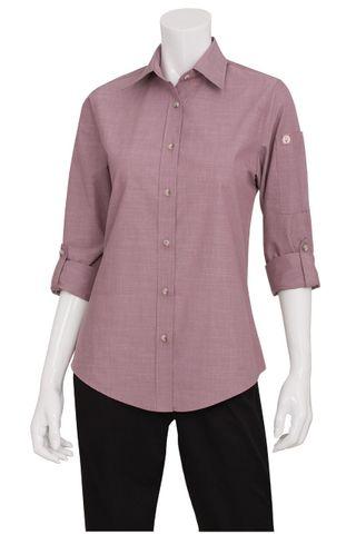 Ladies Chambray Dusty Rose Shirt