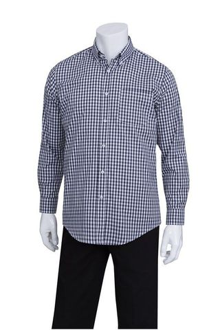 Mens Navy Gingham Dress Shirt M