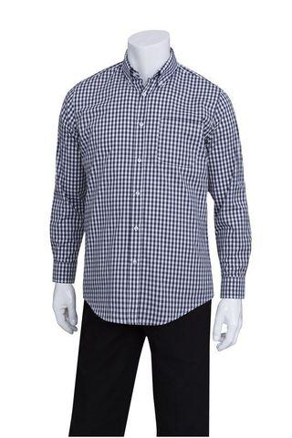 Mens Navy Gingham Dress Shirt M