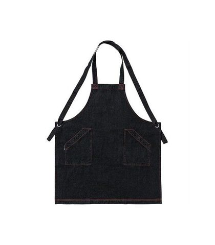 Denim Bib Apron with Crossover Ties Black 86 x 100cm D11