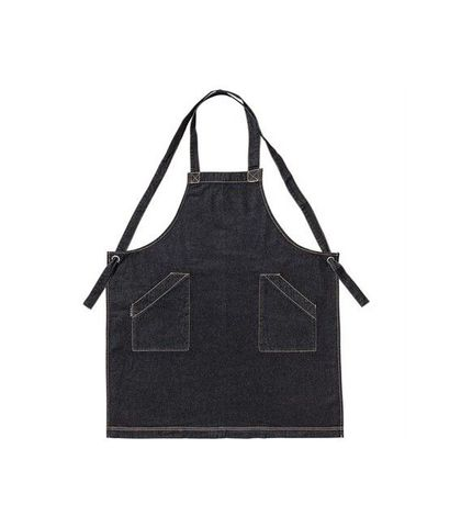 Denim Bib Apron with Crossover Ties Black 86 x 100cm D10
