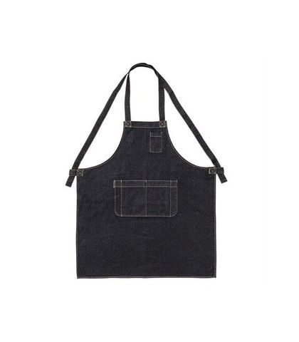Denim Bib Apron with Crossover Ties Black 86 x 100cm D12