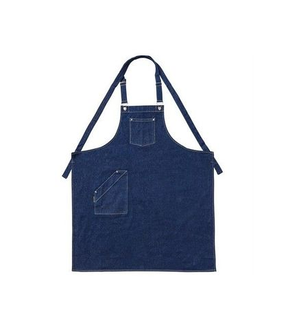 Denim Bib Apron with Crossover Ties Blue 86 x 100cm D01