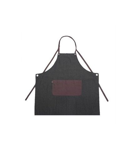 Eyelet Series Bib Apron Grey-Wine With Pocket P/C 70X86cm