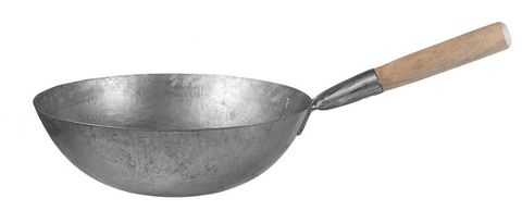 14'' Iron Wok with Wood Handle 355mm Chan Chi Kee