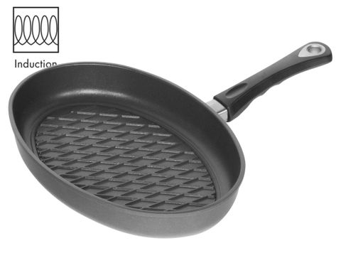 AMT Induction Fish Pan 35x24cm with BBQ Surface, H:5cm (Detachable Handle)