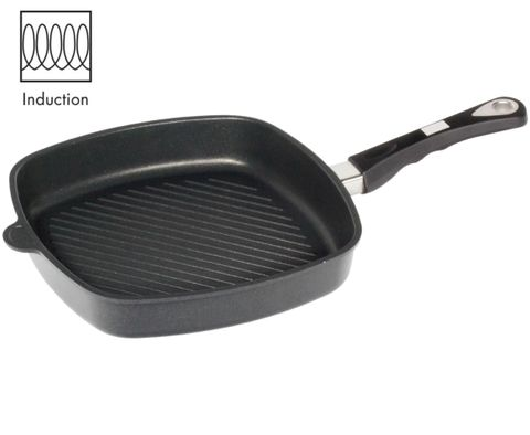 AMT Induction Square Pan 28x28cm with Grill Surface, H:5cm (Detachable Handle)