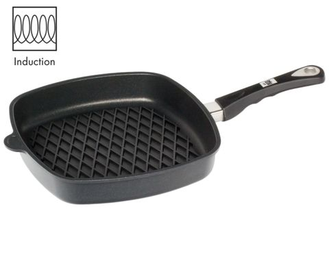 AMT Induction Square Pan 28x28cm with BBQ Surface, H:5cm (Detachable Handle)