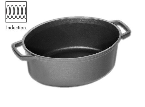 AMT Induction La Cocotte Roasting Dish 32x25 cm, H:12cm (Casted Side Handles)