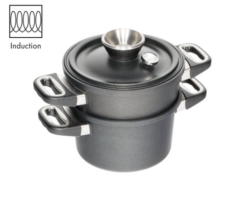 AMT Induction Waterless Cooking Set - Pot 24cm, H:14 + Lid + Steamer