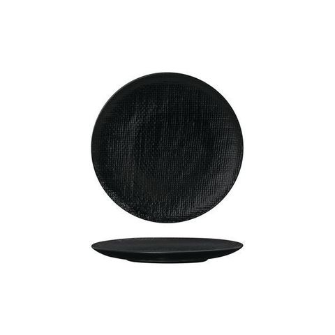 Round Flat Coupe Plate 180mm LUZERNE LINEN Black
