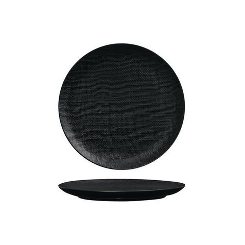 Round Flat Coupe Plate 210mm LUZERNE LINEN Black