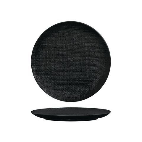 Round Flat Coupe Plate 260mm LUZERNE LINEN Black
