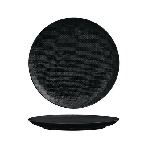 Round Flat Coupe Plate 285mm LUZERNE LINEN Black