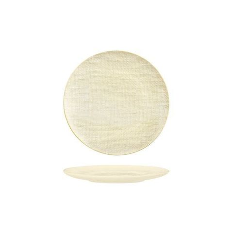 Round Flat Coupe Plate 180mm LUZERNE LINEN Reactive White