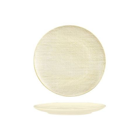 Round Flat Coupe Plate 210mm LUZERNE LINEN Reactive White