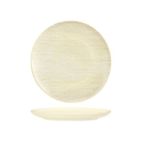 Round Flat Coupe Plate 260mm LUZERNE LINEN Reactive White
