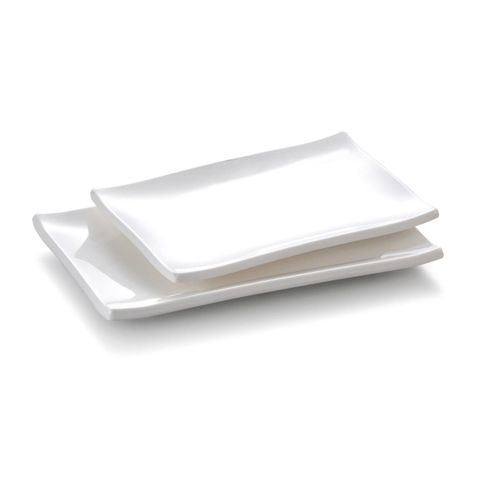 8.3'' Melamine Rectangle Plate 20.8x14x2.1cm White