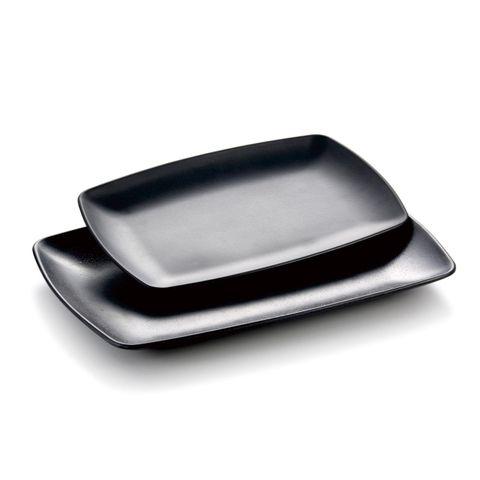 15'' Melamine Oblong Plate 38x29x3cm Matt Black