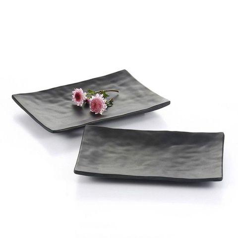 8'' Melamine Rectangle Plate 20x14x2cm Matt Black