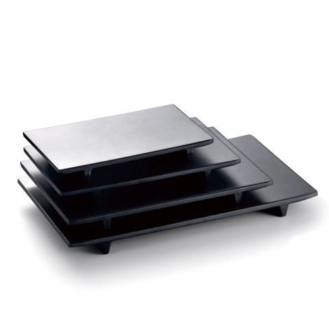 8'' Melamine Rectangle Flat Plate with Stand 20.8x12x2.3cm Matt Black