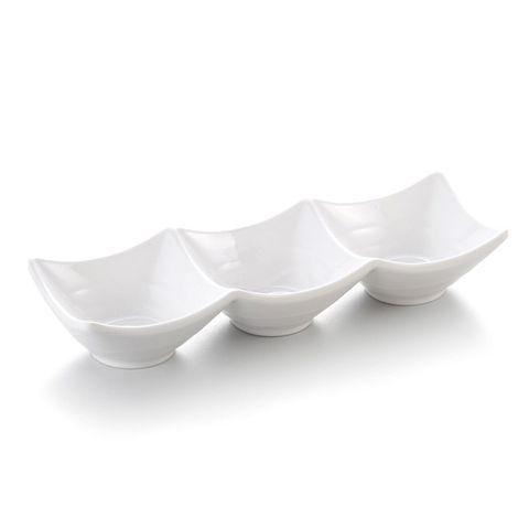 9.6'' Melamine Sauce Dish 3 Division 24.5x8.3x4.5cm White