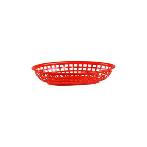 PP Oval Bread Basket 240x150x50mm Red