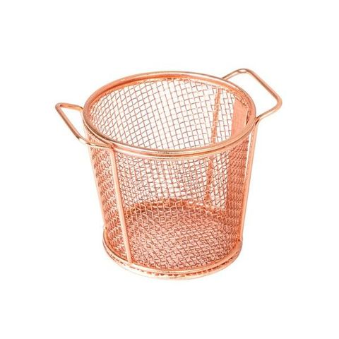 Brooklyn Round Service Basket w/2 HDLS Copper MODA